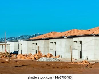 construction site of standardized houses of the Minha Casa Minha Vida Program of the State of Sao Paulo, Brazil