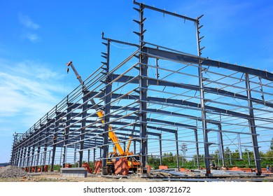 Construction site, steel frame structure is under construction