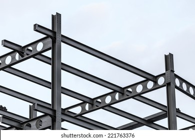 Construction site. Steel structure metal girders skeleton of a new modern building