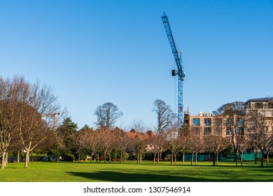 Construction site with a tower crane lifting building materials needed for the workers, view from Herbert Park. Irish house crisis concept in Dublin, Ireland.