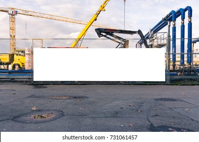 Construction Site Underway Blank Banner Gate Closed Equipment White Isolated Billboard Feature