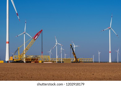 Construction site in a wind farm with crane