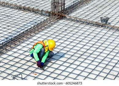 Construction site with worker.