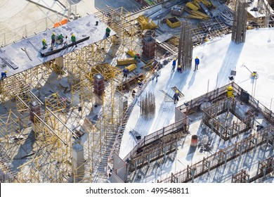 Construction site workers - aerial - Top View