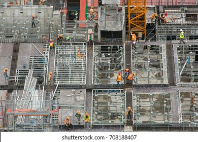 Construction site workers. Aerial, top View