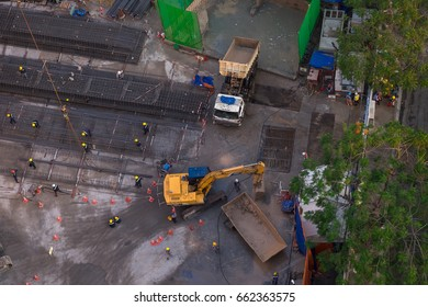 A construction site in the yellow sunset view from urban. HO CHI MINH CITY, VIETNAM- AUG 26