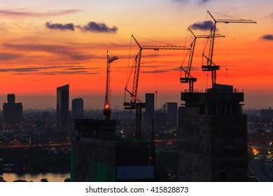 Construction sites in Bangkok, Thailand at sunrise