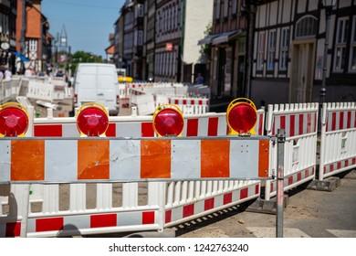 Construction sites shut-off in a city centre