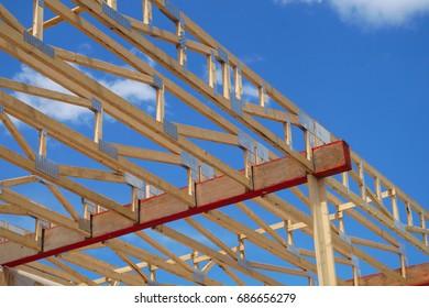 construction skeleton framework house wood beams structure