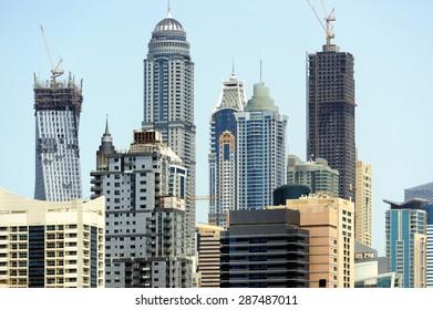 Construction of skyscrapers in Dubai Marina.