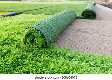 construction soccer field,artificial green grass