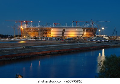 Construction of the stadium for the 2018 World Cup in Kaliningrad. May 2017. Night. Long exposure.