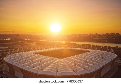 construction of the stadium. aerial view. roof of the stadium on the city's background. sunset. Preparing for the championship in 2018. 08.05.2017, Rostov-on-Don. Russia.