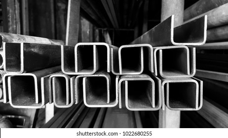 Construction steel profile of C-channel at the warehouse of steel products.