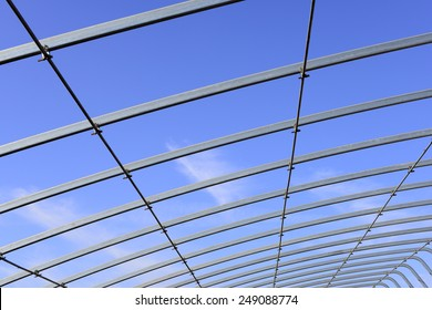 Is the construction of the steel structure of greenhouses, close-up