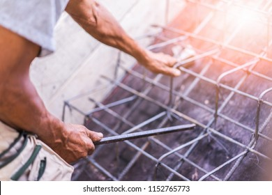 Construction, steel, workers, civil, engineering, rebar, bar, reinforcement,Construction workers are tying steel bars.To lay the second floor stair structure of the house