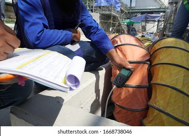 Construction supervisor use checking to inspect and gas including oxygen record before entering work in confined spaces high risk work construction site.