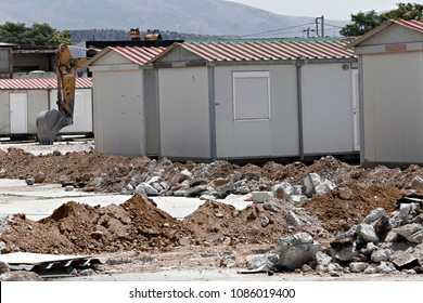 The construction of temporary camp from container homes for refugees  in Athens, Greece on Aug. 7, 2015