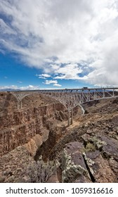 The construction of this suspension bridge was finished 1965. It is the second highest of its kind in the United States, with a span of 1280 feet, and 650 feet above Rio Grande.