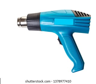 construction tool, industrial hairdryer on white isolated background