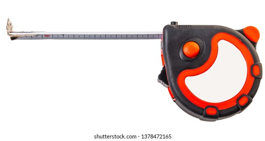 construction tool, tape measure on white isolated background