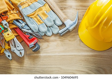 Construction tooling tool belt safety gloves building helmet