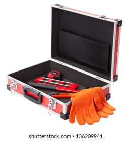 Construction toolkit on white background