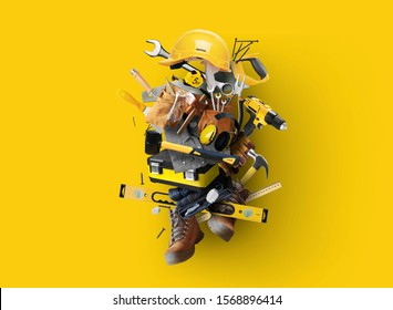 Construction tools and instruments, a concept on the theme of tools