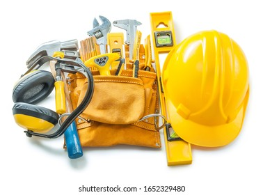 construction tools isolated on white helmet toolbelt earphones and other