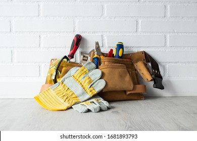 construction tools on the ground and wall