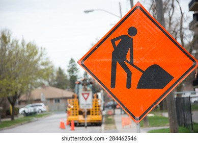 Construction traffic sign warning in construction site in a city or urban area