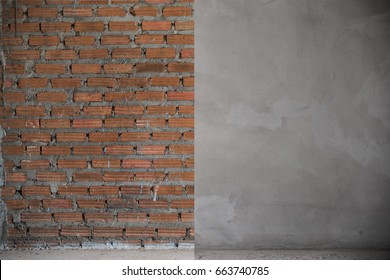 Construction: two steps of concrete wall, Before and after