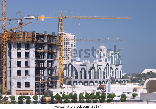Construction under way in the high-rise New District of Doha, Qatar.