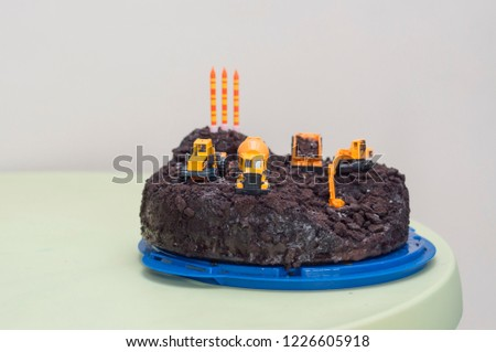 Construction Vehicles Cake For A 3 Years Old Boy