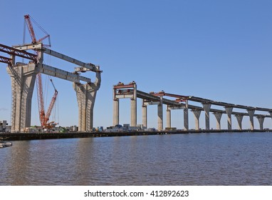 construction of the viaduct with the highway on the water surface