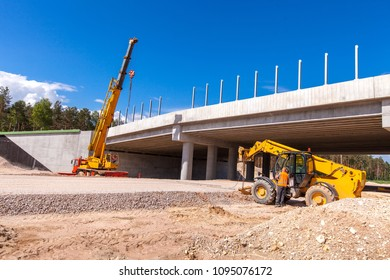 Construction of the viaduct. Road building.