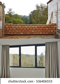 Construction of a wall for room and windows before and after