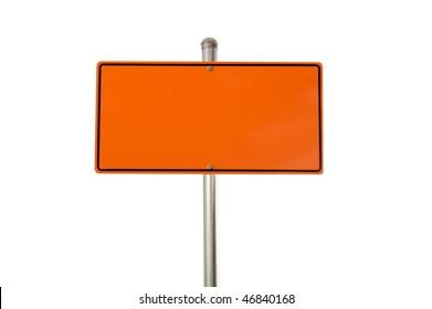 Construction warning sign isolated on white background