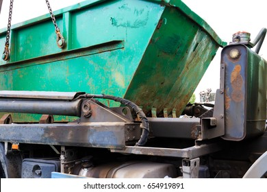 Construction waste container on a truck