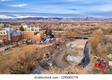 construction of whitewater park on the Poudre River in downtown of Fort Collins, Colorado, aerial view