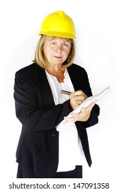 Construction woman is angry and writing you up