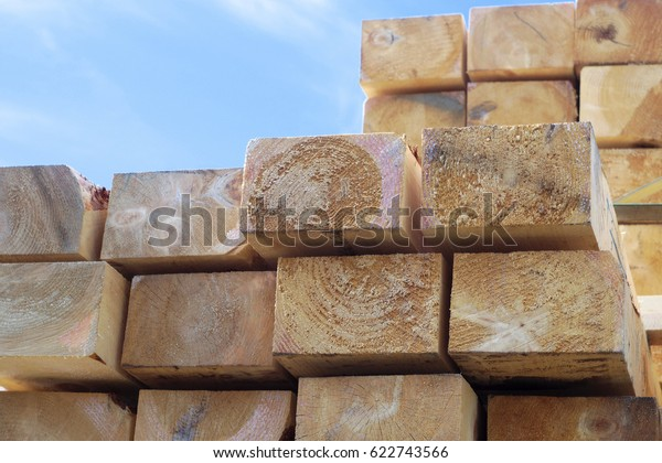 construction wood plank side view many stacked industry background