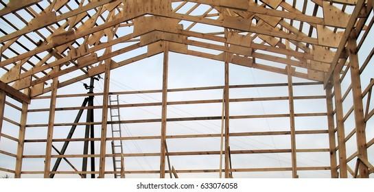 Installation Wooden Beams Construction Roof Truss Stock Photo (Edit ...
