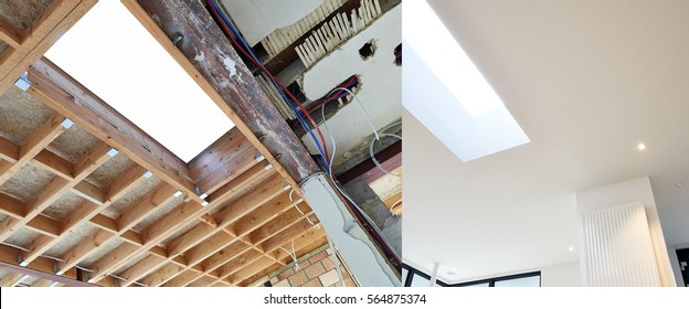 Construction of the wooden frame of a roof - Construction of Drywall-Plasterboard Before and after