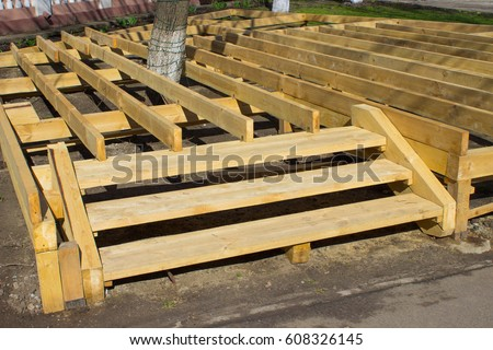 Construction Of A Wooden Platform With Stairs