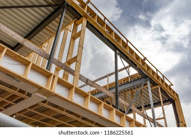 Construction work of a commercial building, room for text
