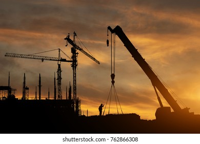 Construction to work industry and safety background sunset