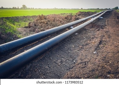 Construction work of Oil Pipeline or Gas pipeline ,steel pipeline at site construction.