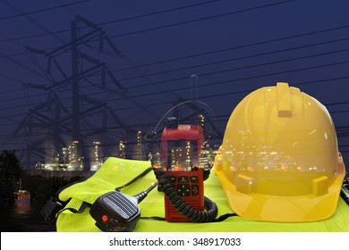 Construction work on power poles and power lines. Always use safety equipment and communication devices.