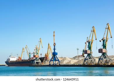 Construction work at the port dock crane